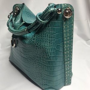 BCBGMAXAZRIA Turquoise Leather Tote Bag